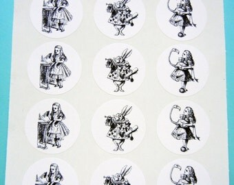 "Alice in Wonderland Envelope Seals/Stickers  - 1"" One Inch Round, B&W, Sheets of 15 -  by Blossom Arts"