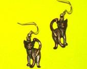 Vintage 1970s Kitty Cat Kitten Copper Dangle Drop Earrings