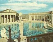 Vintage 1960s Postcard San Simeon California Hearst Neptune Pool Roman Architecture Scenic View Photochrome Era Postally Unused