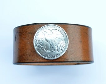 Leather Men's Cuff Bracelet Wristband Brown with Eagle Coin