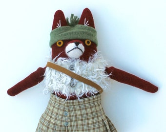 Fox Boy in a Kilt Doll wool plush softie