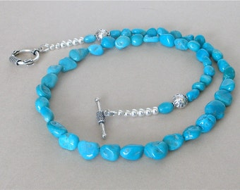 "Sleeping Beauty Turquoise Nugget Necklace - Classic Southwest Arizona Turquoise Necklace Deep Blue Nuggets - 19 1/4"" Length"