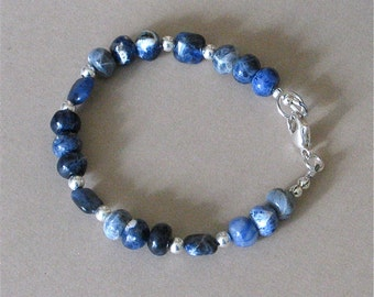 Blue Sodalite Bracelet - Classic Southwest Style Stacking Bracelet - Made With Sodalite and Sterling Silver Beads