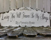 Loving You Will Forever Be My Always Sign, CUSTOM NAME SIGN, Personalized Sign, Shabby Chic Sign, Distressed Quote Sign