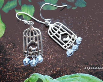 SPRING BIRDS Aquamarine drops and All sterling silver earrings by srgoddess