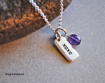 KISSES and HUGS sterling silver and faceted purple amethyst drop necklace clasp and length choice by srgoddess
