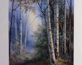 Mystic Birch Forest, Giclee print with artist brushwork in oils.  Free Shipping