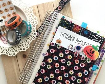 Zombie Eyeballs Bag, Halloween Pocket Planner Pouch, Planner Band - Fits Kikki K A5, Filofax, Erin Condren Life Planner, Happy Planner