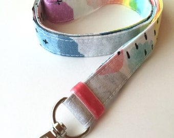 Organic Cotton Lanyard - Watercolors - Colorful Lanyard - Teachers Lanyard - Fabric Neck Lanyard - Colorful Key FOB - Lanyard