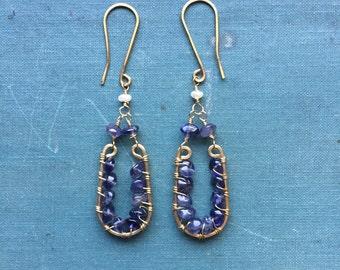 Iolite Chandelier Earrings | Brass | Wire wrapped | Pearl | Rustic