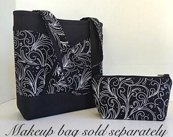 Black and white Handbag, Black Tote bag, handbags and purses, Totes and handbags, Purse with pockets, black and white, paisley, gift for her
