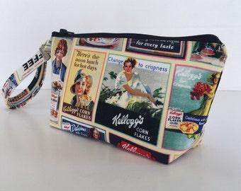 Wristlet, makeup bag, Nostalgic Kellogg's cosmetic purse ,clutch purse, zipper pouch, cosmetic bag, zipper bag, gift for her, (518)