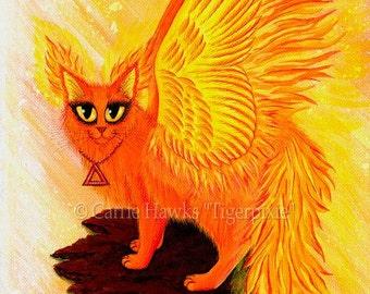 Phoenix Cat Art Fire Cat Painting Elemental Flames Winged Cat Lava Rock Fantasy Big Eye Print 8x10 Cat Lovers Art
