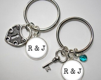 Couple's Key Chains - Heart Lock and Key with Initial Charms - Optional Established Date and Optional Crystal