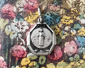 GUARDIAN ANGEL MEDAL Vintage Religious Child Jesus France