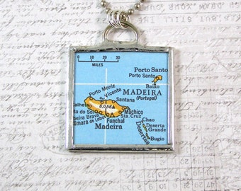 Madeira Map Double Sided Pendant Necklace