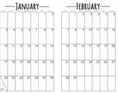 Printable Bullet Journal Monthly Calendar Pages - 2017 - Black and White