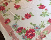 RESERVED FOR VALERIE Vintage Table Linen - Feminine Blue & Red Rose Print w/ Lime Leaves and Light Dusty Rose Striped Border