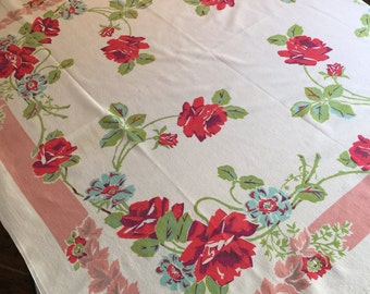 Vintage Table Linen - Feminine Blue & Red Rose Print w/ Lime Leaves and Light Dusty Rose Striped Border - Beautiful Example of Retro Colors