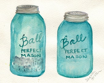Watercolor Painting Salt Pepper Aqua Blue Canning Jars Painting Original 5 X 7