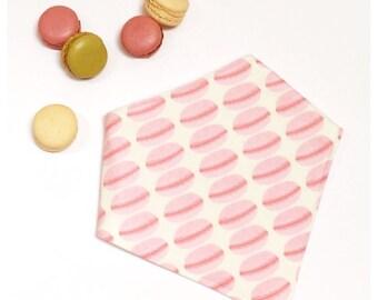 Macaron Girl Bibdana, Macaron Pink Baby Bib, Drooler Bib, Bibdana for Girl, Baby Girl Bib, Pink, Cream, White - PINK MACARONS