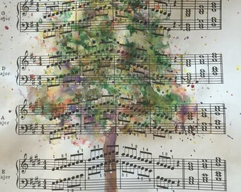 Watercolor painting on vintage upcycled sheet music tree painting home decor