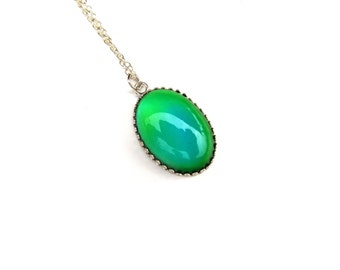Modern Mood Pendant - Sterling Silver  and Color Changing Stone - Oval