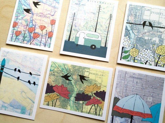 Boxed Portland Notecard Set // Portland Cards // NW Artist Card // Map Card // Blank Notecards // PDX // Art Card // Rachel Austin Art