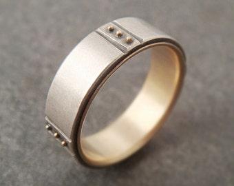 Mens Wedding Band, Sterling Silver and 14k Gold Wedding Band, Mens Wedding Ring, Mens Ring, Womens Wedding Band, Kenzō Gold Ring, Handmade