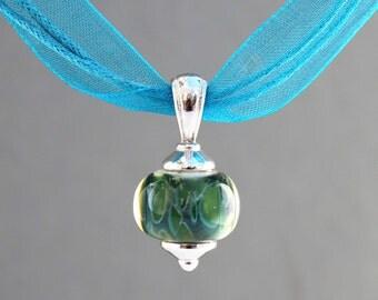 Pendant Necklace, Glass Pendant Necklace, Ribbon Necklace, Lampwork Necklace, Blue and Green Necklace