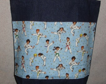 New Large Handmade Karate Teacher Kids Denim Tote Bag