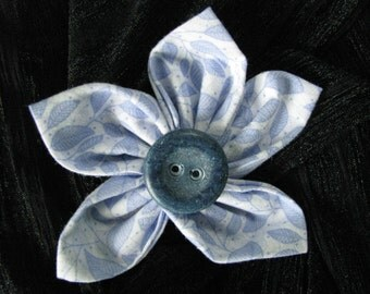 Fabric Flower Light Blue Leaf Print Brooch Pin