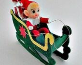 Vintage Pixie Elf in Sleigh - Vintage Mid Century Christmas Decor