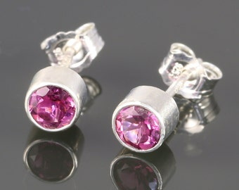 Pink Tourmaline Stud Earrings. Sterling Silver. 4mm Faceted Round. Genuine Gemstone. October Birthstone. Tube Setting. f14e043