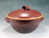 Red Medium Casserole Dish With Lid Hand Thrown Stoneware Pottery 1