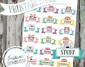 Kawaii School & Study Reminders - Printable Planner Stickers - PDF - Instant Download