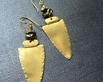 Gold Arrowhead Pyrite Earrings