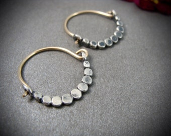 petite beaded minimalist ... mixed metal hoops