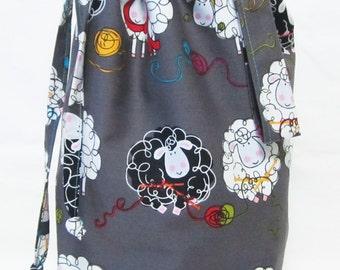 Small Knitting Project Bag - Knitty Sheep Gray
