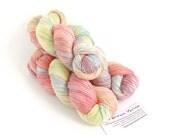 Handdyed DK organic merino silk, variegated pale pastel light worsted crochet Perran Yarns Unicorn Clouds, lemon pink green natural fibre uk