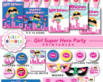40% off SUPER HERO birthday party for girls, printable cupcake toppers, wrappers, signs, banners, masks, Superhero Instant Download