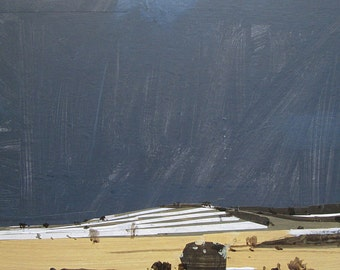 Rotation, Original Winter Landscape Collage Painting on Panel, Stooshinoff