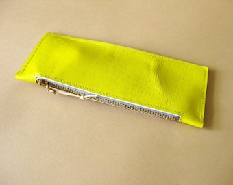 Long leather wallet - Lemon yellow