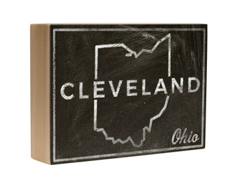 """Gift for Dad- Gift Ideas- Cleveland City State Art Box- 5""""x7"""" Cleveland Print- Cleveland Gifts- Cleveland Art- Ohio State Print"""