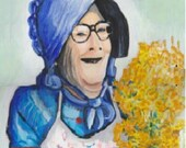 Country Woman With Goldenrods painting