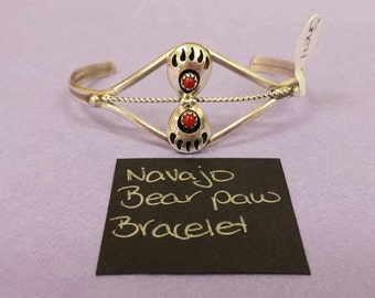 Navajo Bear Paw bracelet with red coral