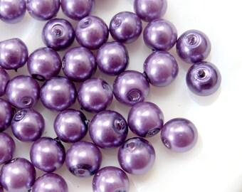 SALE 6mm Glass Pearl Bead Round - Purple 200pcs