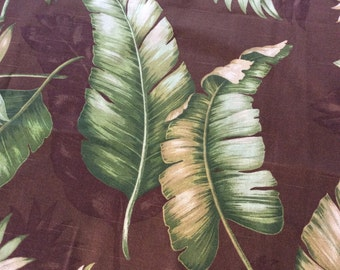 Leaf Plumes Fabric/Large Leaves/Brown and Green Drapery Fabric