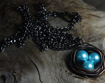 Copper Wire Birds Nest Pendant Copper Wire Jewelry