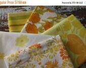 30%OFF SUPER SALE- Fat Quarter Bundle-Reclaimed Bed Linens -Vintage Bed Linens-Citrus